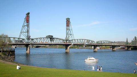 Hawthorne Bridge and Portland Waterfront Footage