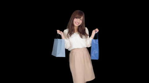Young Japanese woman shopping with colorful bag 5 Footage