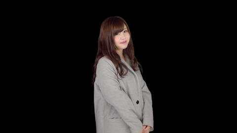Young Japanese woman wearing coat in winter 4 Footage