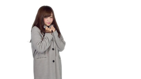 Young Japanese woman wearing coat in winter 2 Footage