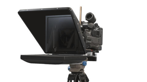Teleprompter with camcorder, Full HD shot with alpha channel Footage
