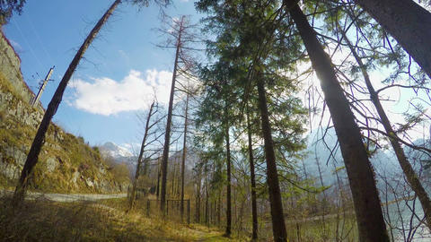 Timelapse of sunny day in rocky mountains, hiking in forest, green tourism, road Footage