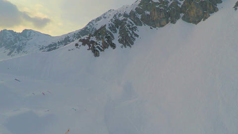 Breathtaking panorama of snowy mountain peak, popular ski resort, Austrian Alps Footage
