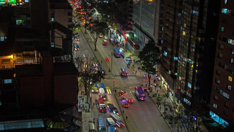 Bogota Traffic Time Lapse Panning Down Footage