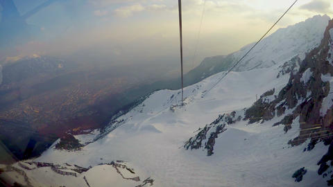 Time-lapse view from ropeway car moving down the mountain, active lifestyle Footage