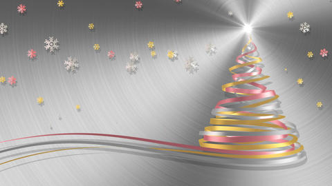 Christmas Tree From White, Pink And Yellow Tapes With Snowflakes On Metal Backgr Animation