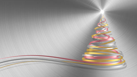 Christmas Tree From White, Pink And Yellow Tapes On Metal Background Animation