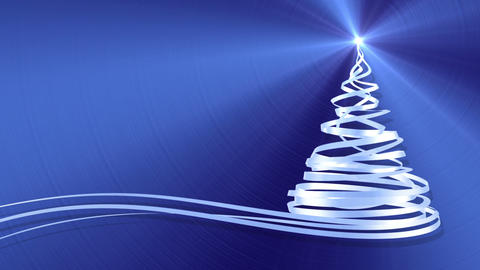 Christmas Tree From White Tapes Over Blue Metal Background Animation