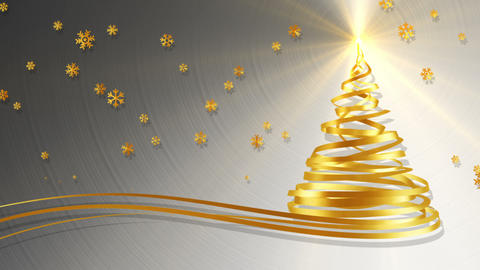 Christmas Tree From Gold Tapes And Snowflakes Over Metal Background Animation