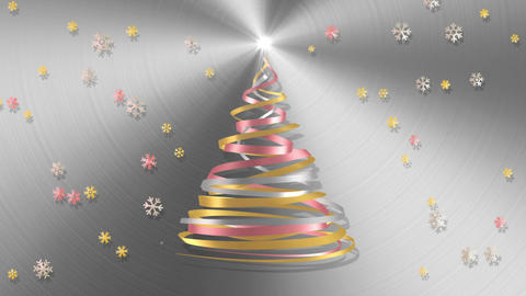 Christmas Tree From White, Pink And Yellow Tapes With Snowflakes Over Metal Back Animation