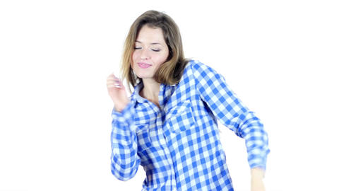 Dancing Female on White Background Footage