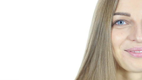 Close Up Of Half Smiling Woman Face , White Background Live Action