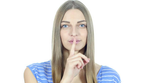 Silence, Young Girl Showing Gesture of Silence Footage