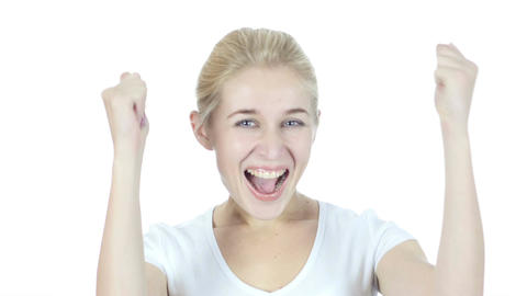 Reaction to Success, Woman Cheering and Celebrating successful Footage