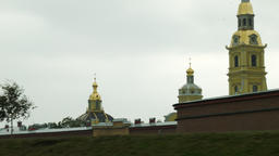 Aerial glide shot of Peter and Paul Fortress Fort in Saint Petersburg Footage