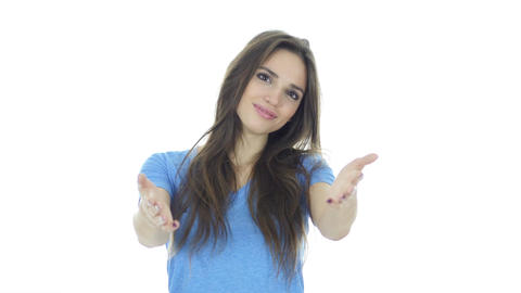 Join Us, Invitation Gesture by Woman, White Background Footage