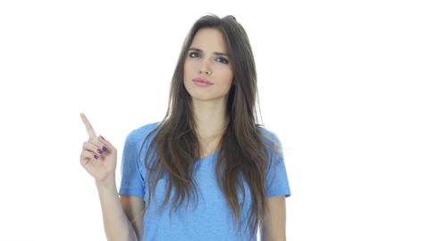 Rejecting Woman, Showing No by Waving finger, White Background Footage