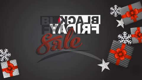 black friday sale with stencil typography surrounded by appealing gift boxes with red bows Animation