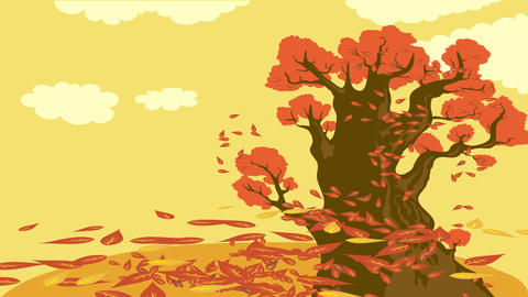 beautiful nostalgic autumn concept art designed with doodle of leaves falling from big old tree on Animation