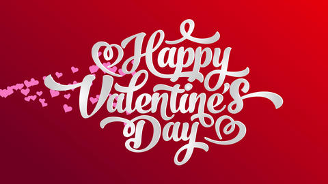 angel valentines day affection writing covering with calligraphy offset text with hearts up red Animation