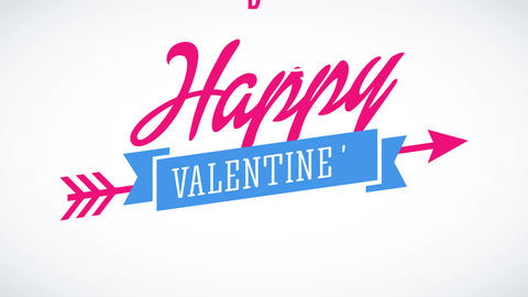 happy valentines day text putting one word above the other changing colors and in the middle a Animation