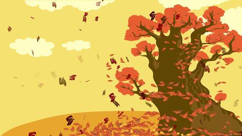 wonderful nostalgic autumnal concept science designed with cartoon of foliage falling from big old Animation