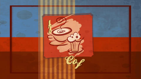 retro coffee card cover with old fashioned mug and creamy dessert doodles over vintage striped and Animation