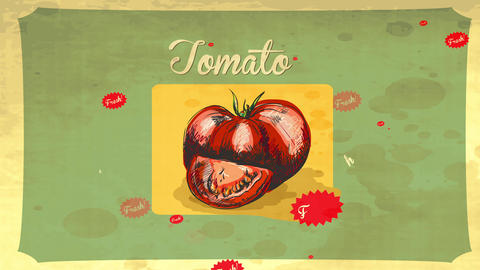 retro styled tomato hand drawn with pencil and multicolored with red watercolor over a classic paper Animation
