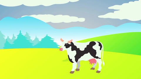 beef stand on a rich prairie surrounded by green hills high pasture under blue cloudy sky with Animation