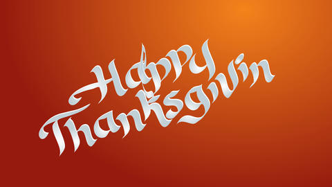 happy thanksgiving text with white words written with classic calligraphy typography and in a Animation