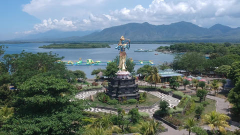 zoom in on a Shiva monument Taman Siwa in sunny weather Gilimanuk Melaya west Live Action
