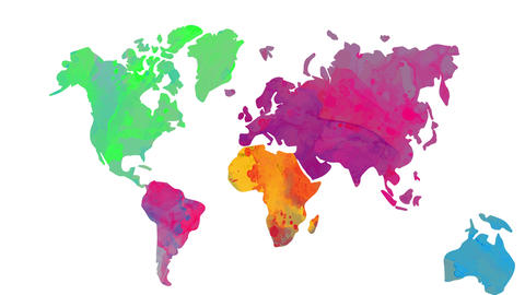 world map multicolor with opposite watercolor in each continent manipulation lighting tones Animation