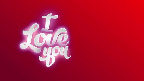 i affection yourself written with white 3d writing handling calligraphy offset over a red background Animation