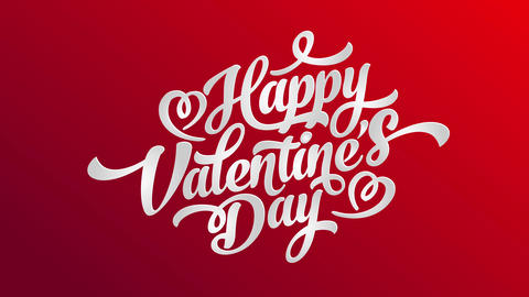 white happy valentines day typography with 3d effect with shadows under letters over a red sheet and Animation