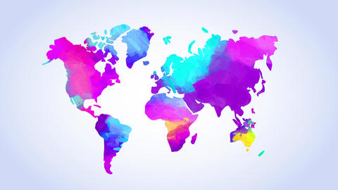 watercolor world map painted with mix of vibrant colors suggesting multicultural trade between Animation