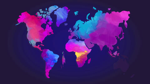 watercolour world chart painted with lively colour with a 3d effect floating above blue scene Animation