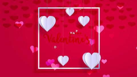 cheerful valentines day written elegantly inside border on red scene with origami paper hearts Animation