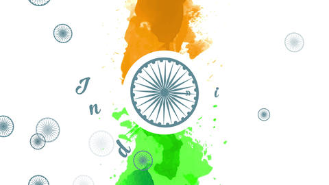 india liberty day with the colors of the banner vertically multicoloured with watercolor with a Animation