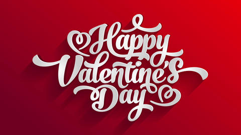 saint valentines day love letter cover with calligraphy typography text with hearts above red Animation