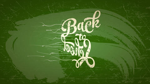 back to education publicity conceptual lettering written with white chalk over a green chalkboard Animation