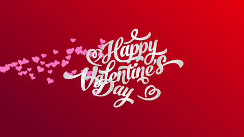 white happy valentines day typography with 3d effect with darkness under letters over a red sheet Animation