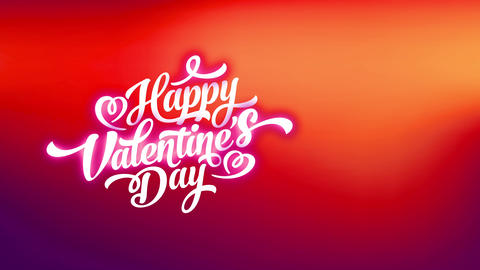 curly font typography with smiling valentines day written in white over scene with opposite Animation