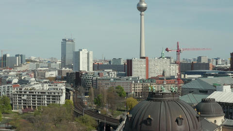 AERIAL: Wide View of Empty Berlin with Spree River and Museums and View of Live Action
