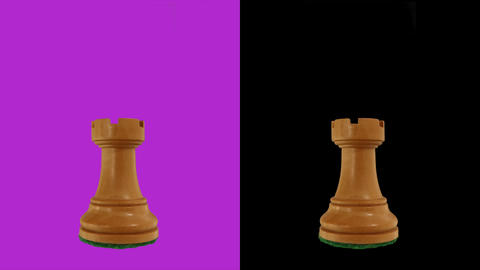 White rook chess piece chromakey 360 degree rotation Live Action