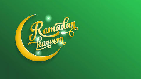 ramadan kareem vacation reception cardboard with gold calligraphy typography with constellation Animation