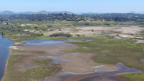 Aerial view of San Elijo Lagoon Ecological Reserve and Nature Center Live Action