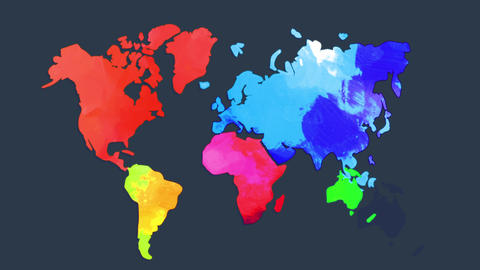world map multicolored by hand with watercolour and manipulation special brilliant colours towards Animation