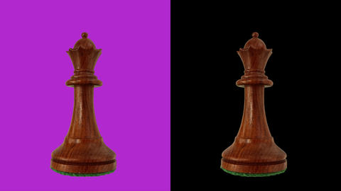 Black queen chess piece chromakey 360 degree rotation Live Action