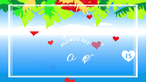 all you lack is romance motivational reference with hawaiian style vegetation and plants over clear Animation
