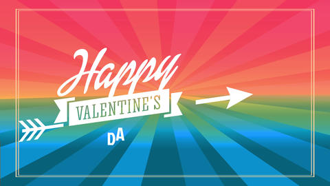 happy valentines day text concept art crafted with cursive offset and a medal crossed by an arrow Animation